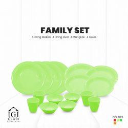 set makan keluarga hijau muda