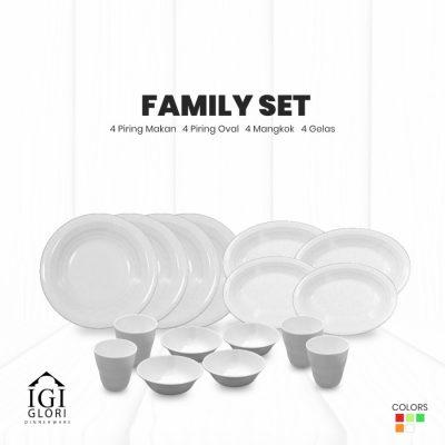 set makan keluarga putih