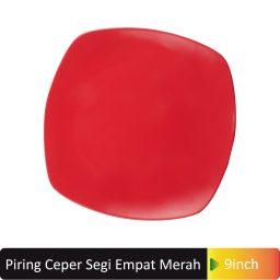 piring segi4 merah 9inch