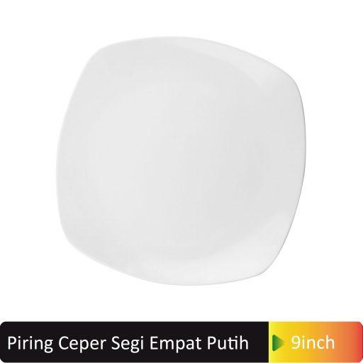 piring cekung segi4 putih