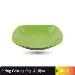 piring cekung segi4 hijau