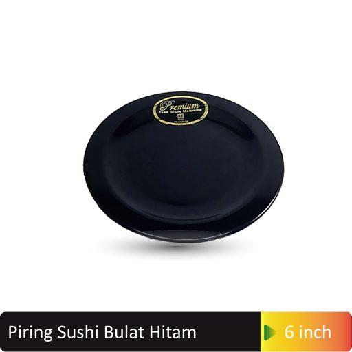 piring sushi bulat hitam