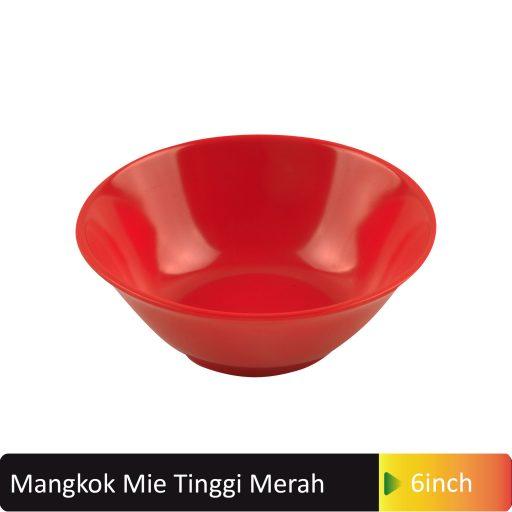 mangkok merah tinggi 6inch