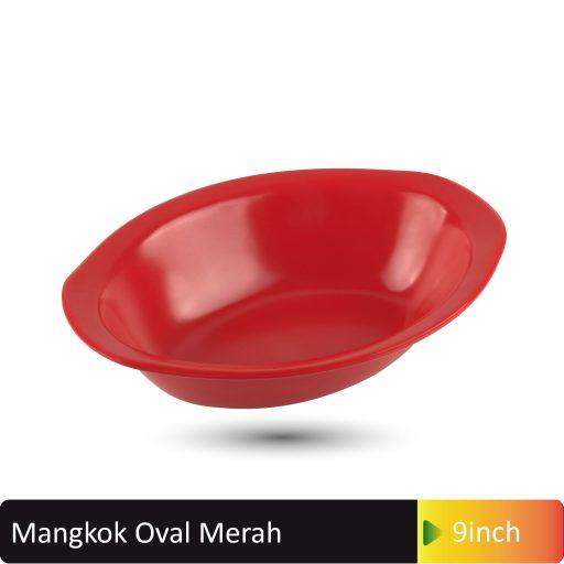 mangkok oval merah 9inch