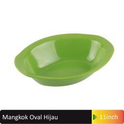 mangkok oval hijau 9inch