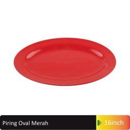 piring oval merah melamin