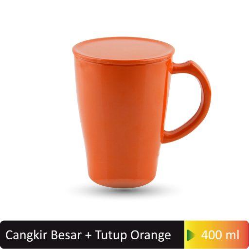 cangkir besar tutup orange 400ml