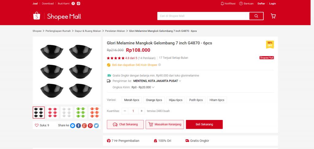 Glori Melamine Mangkok Gelombang 7 inch G4870 - 6pcs Shopee Indonesia