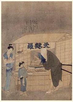 Makanan Tempura [Kinsei Shokunin Zukushi Emaki] (Bagian) Kuwagata Keisai tahun 1806 Dimiliki oleh Museum Nasional Tokyo Foto : TNM Image Archives ※Dilarang Menggunakan Tanpa Izin