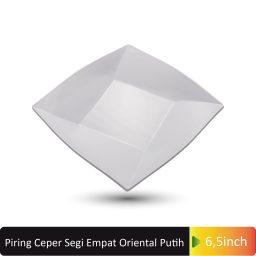 piring ceper segi4 oriental putih